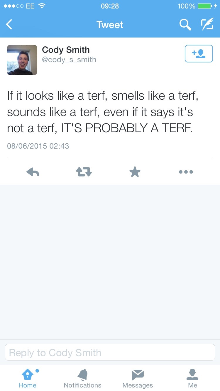 Smells like a terf